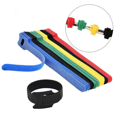 Colorful self locking reusable T shape cable tie back to back  Hook And Loop cable tie Household Application